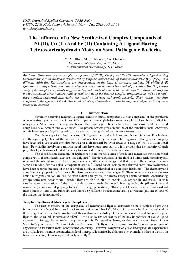 IOSR Journal of Applied Chemistry (IOSR-JAC) e-ISSN: 2278-5736.Volume 4, Issue 4 (May. – Jun. 2013), PP 51-59 www.iosrjour...