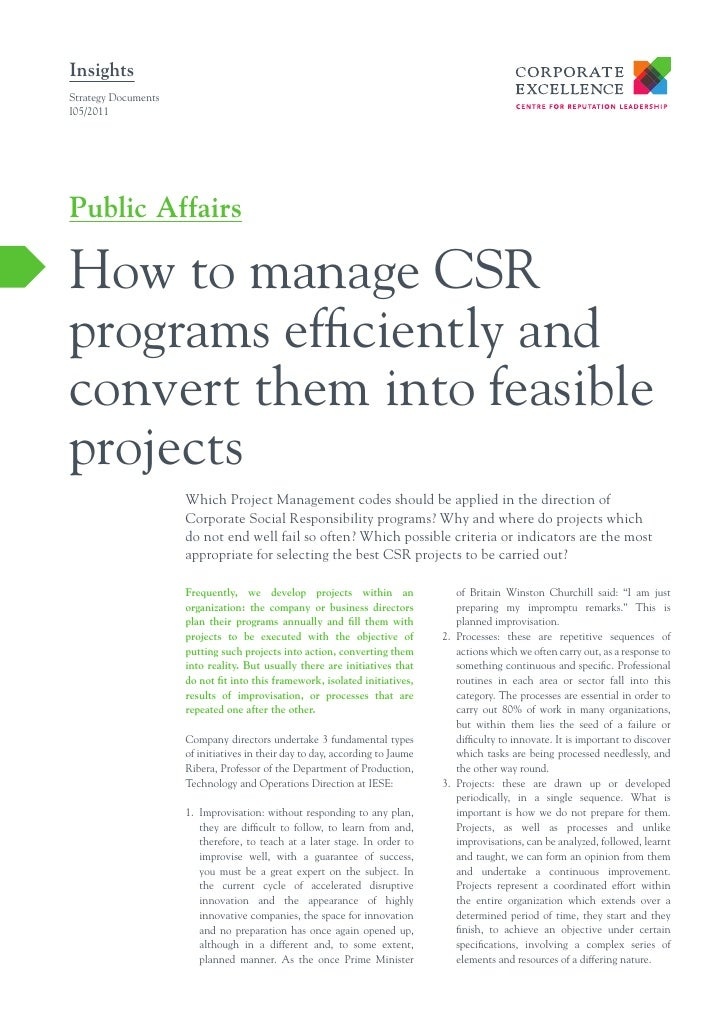 InsightsStrategy DocumentsI05/2011Public AffairsHow to manage CSRprograms efficiently andconvert them into feasibleproject...