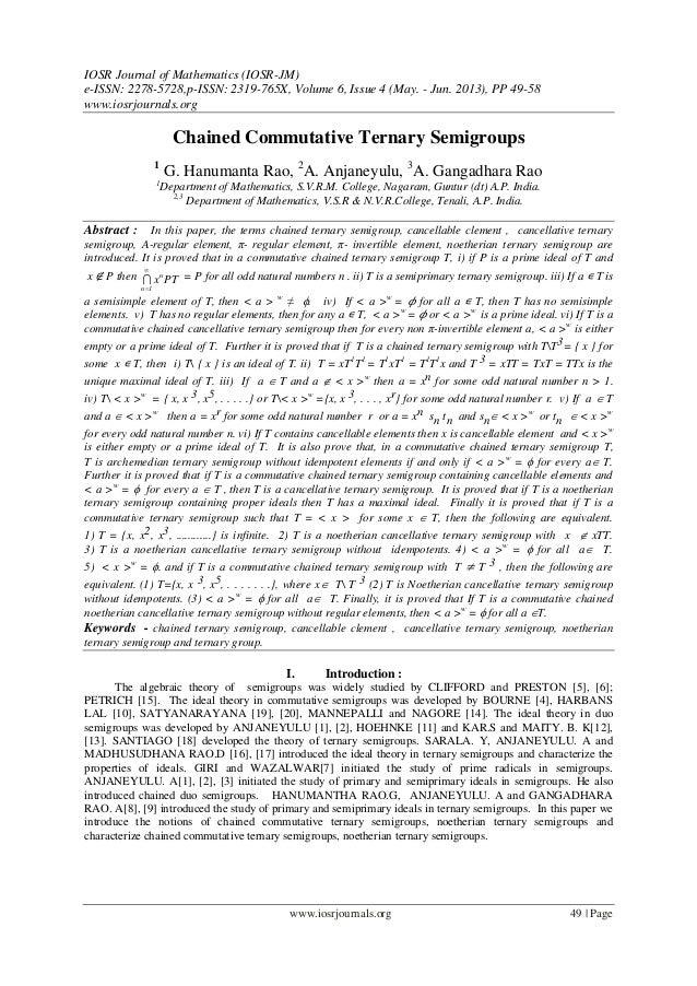 IOSR Journal of Mathematics (IOSR-JM) e-ISSN: 2278-5728,p-ISSN: 2319-765X, Volume 6, Issue 4 (May. - Jun. 2013), PP 49-58 ...