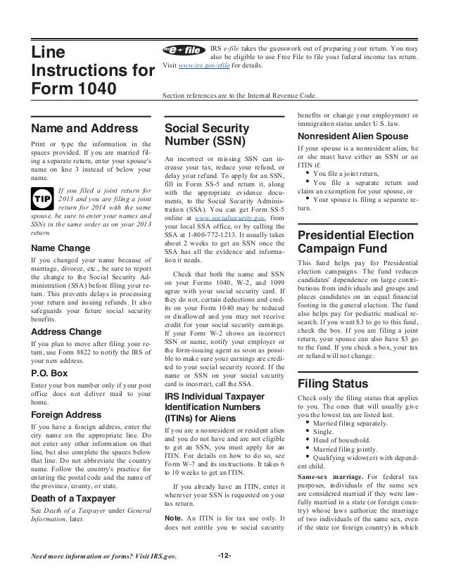 form 1040 instruction