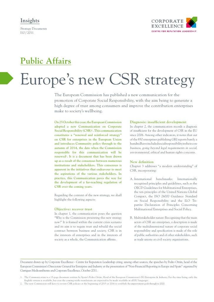 InsightsStrategy DocumentsI10 / 2011Public AffairsEurope's new CSR strategy                               The European Com...