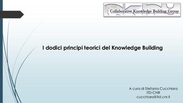I dodici principi teorici del Knowledge Building A cura di Stefania Cucchiara ITD-CNR cucchiara@itd.cnr.it
