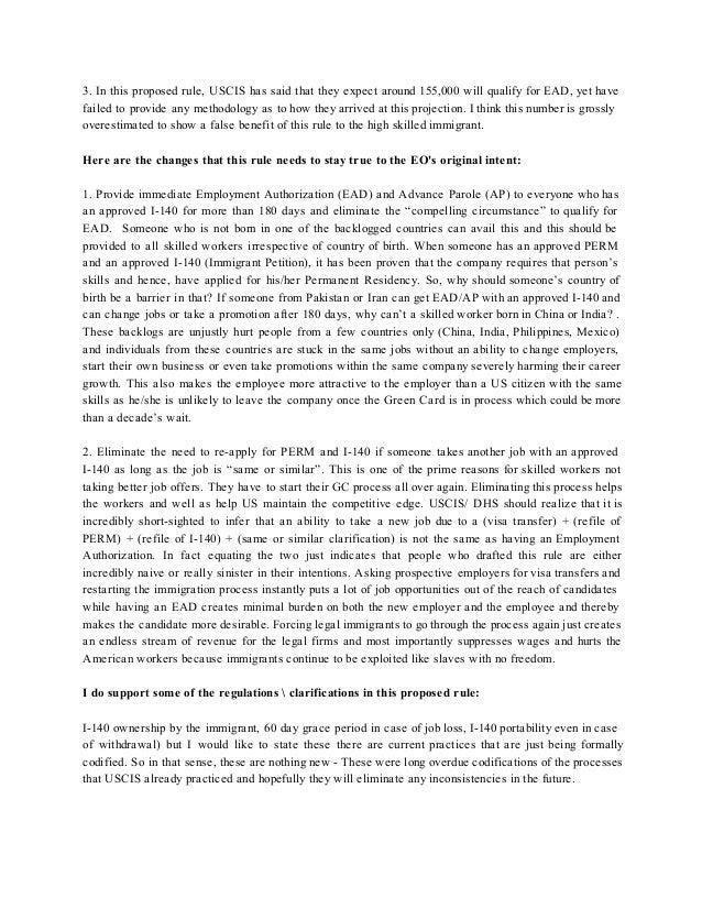 I140 EAD AP - Public Comments - Sample Comments Template