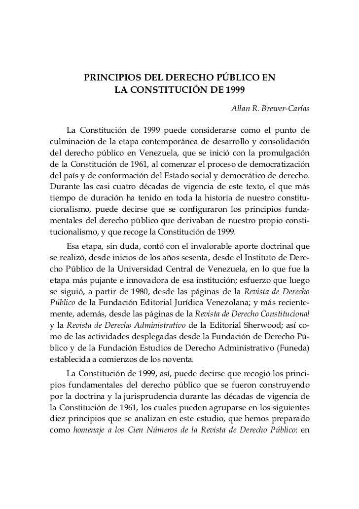 PRINCIPIOS DEL DERECHO PÚBLICO EN              LA CONSTITUCIÓN DE 1999                                                   A...