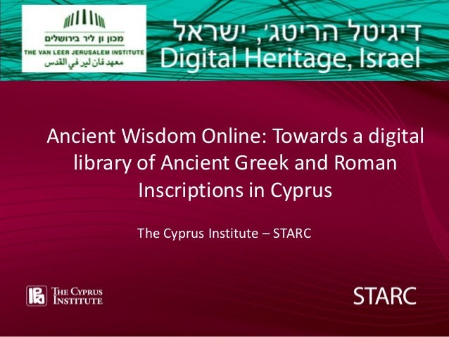 Add text ––front page Add text front FRONT COVER page  Ancient Wisdom Online: Towards a digital library of Ancient Greek a...