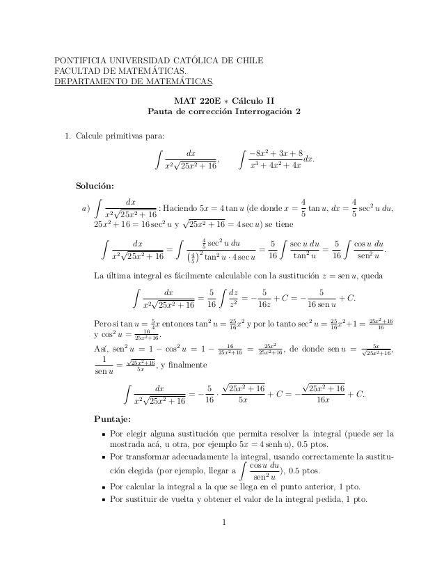 ´PONTIFICIA UNIVERSIDAD CATOLICA DE CHILE                   ´FACULTAD DE MATEMATICAS.                        ´DEPARTAMENTO...