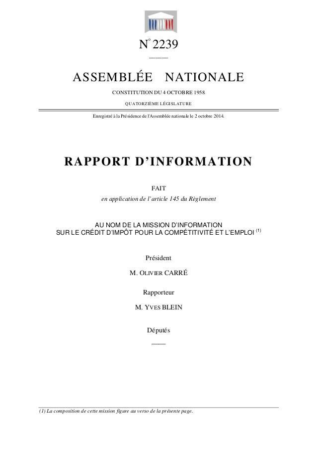 N° 2239  ______  ASSEMBLÉE NATIONALE  CONSTITUTION DU 4 OCTOBRE 1958  QUATORZIÈME LÉGISLATURE  Enregistré à la Présidence ...