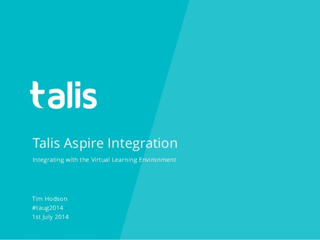 Talis Aspire Integration Tim Hodson #taug2014 1st July 2014 Integrating with the Virtual Learning Environment