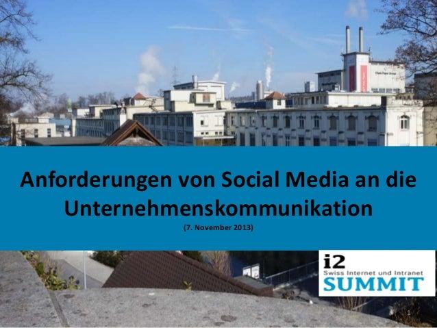 Anforderungen von Social Media an die Unternehmenskommunikation (7. November 2013)  1