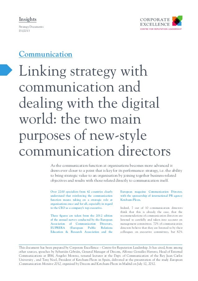 Insights Strategy Documents I31/2013  Communication  Linking strategy with communication and dealing with the digital worl...