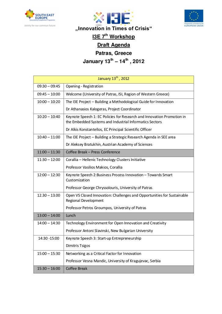 """""""Innovation in Times of Crisis""""                                  I3E 7th Workshop                                    Draft..."""