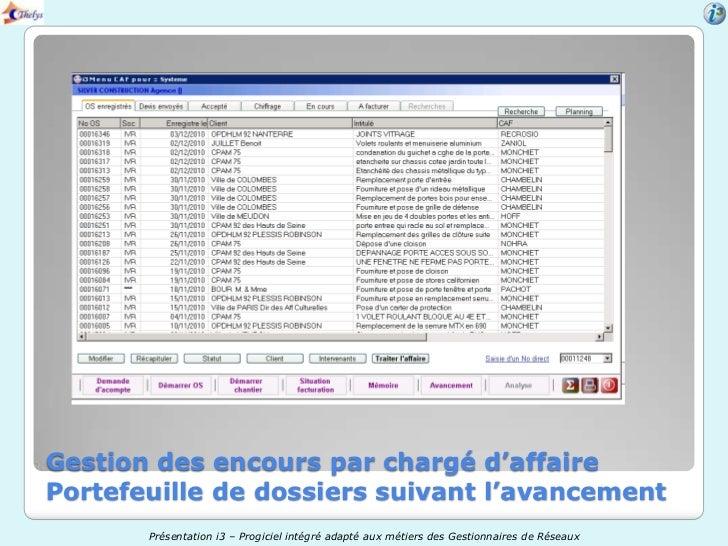 Gestion des encours par chargé d'affairePortefeuille de dossiers suivant l'avancement       Présentation i3 – Progiciel in...