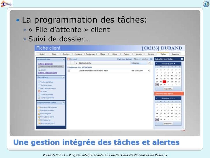    La programmation des tâches:    ◦ « File d'attente » client    ◦ Suivi de dossier…Une gestion intégrée des tâches et a...
