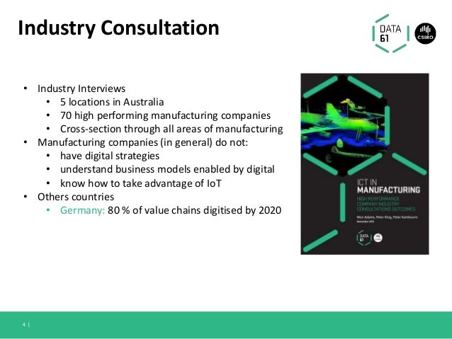 Industry Consultation 4   • Industry Interviews • 5 locations in Australia • 70 high performing manufacturing companies • ...