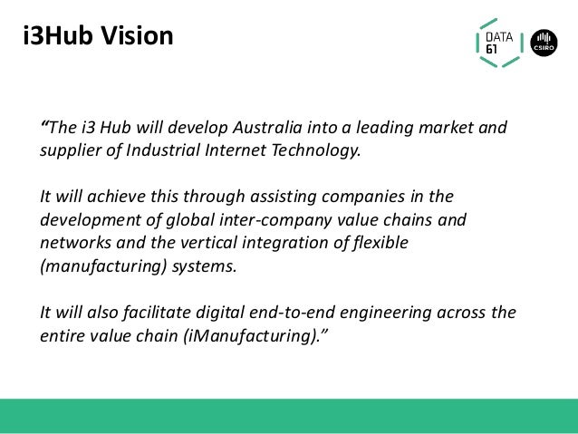"""i3Hub Vision """"The i3 Hub will develop Australia into a leading market and supplier of Industrial Internet Technology. It w..."""