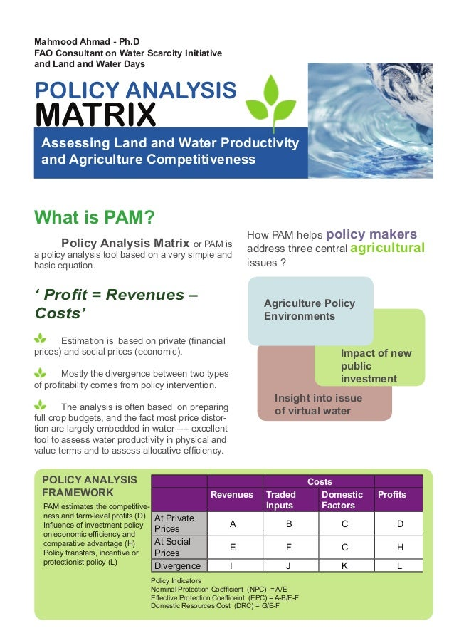 Mahmood Ahmad - Ph.D FAO Consultant on Water Scarcity Initiative and Land and Water Days  POLICY ANALYSIS  MATRIX  Assessi...