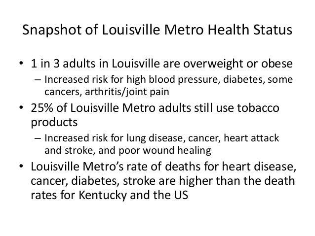Snapshot of Louisville Metro Health Status  • 1 in 3 adults in Louisville are overweight or obese  – Increased risk for hi...