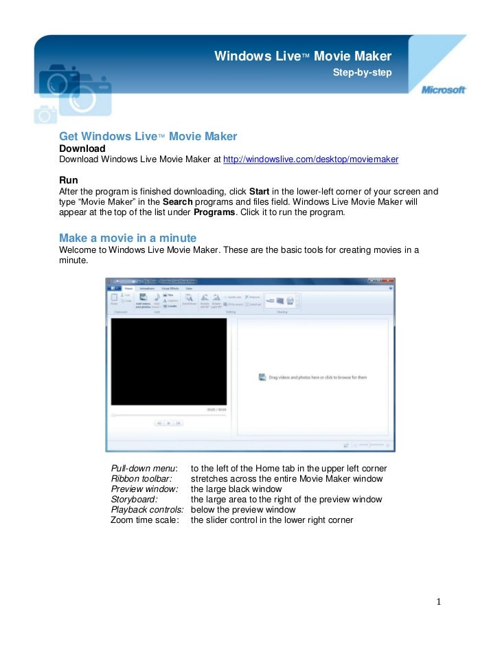 Windows Live™ Movie Maker                                                                       Step-by-stepGet Windows Li...