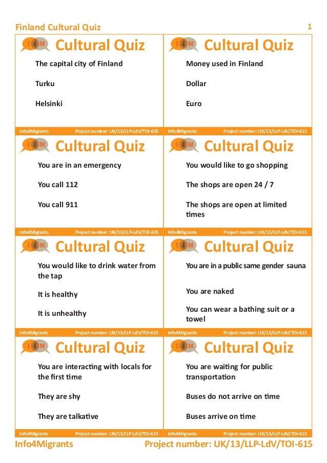 Finland Cultural Quiz 1 Cultural Quiz Cultural Quiz Cultural Quiz Cultural Quiz Cultural Quiz Cultural Quiz Cultural Quiz ...