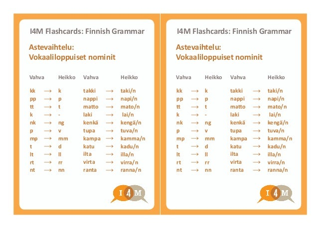 k p t - ng v mm d ll rr nn k p t - ng v mm d ll rr nn I4M Flashcards: Finnish Grammar I4M Flashcards: Finnish Grammar Vahv...