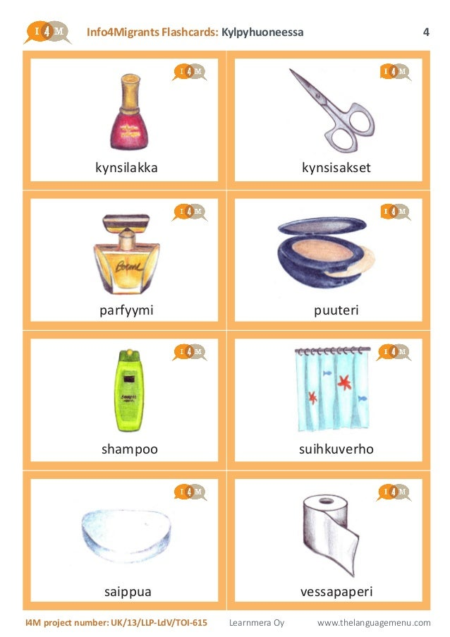 Bathroom Things: I4M Flashcards: Items In The Bathroom (in Finnish