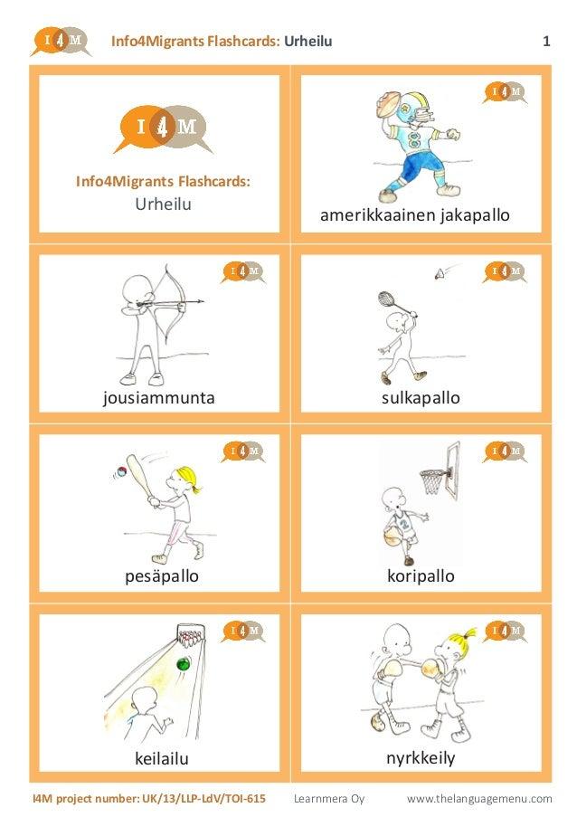 Info4Migrants Flashcards: Urheilu I4M project number: UK/13/LLP-LdV/TOI-615 Learnmera Oy www.thelanguagemenu.com 1 Info4Mi...