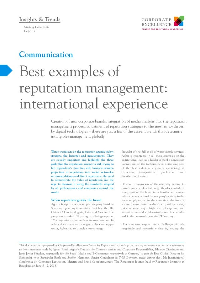 best examples of reputation management international experience