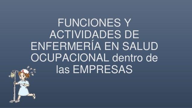 funciones y actividades de enfermer u00eda en salud ocupacional