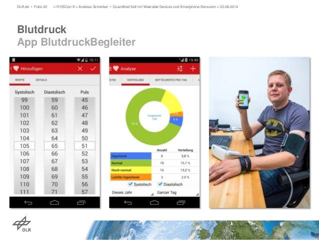 Blutdruck App BlutdruckBegleiter  DLR.de • Folie 20 > FrOSCon 9 > Andreas Schreiber • Quantified Self mit Wearable Devices...