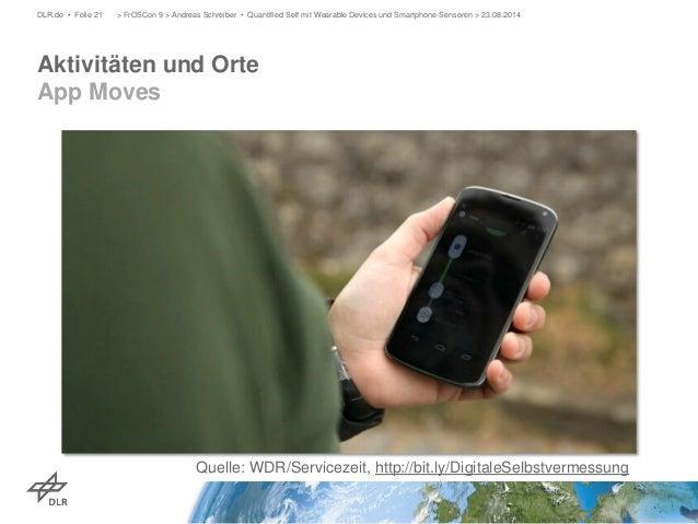Aktivitäten und Orte App Moves  DLR.de • Folie 21 > FrOSCon 9 > Andreas Schreiber • Quantified Self mit Wearable Devices u...
