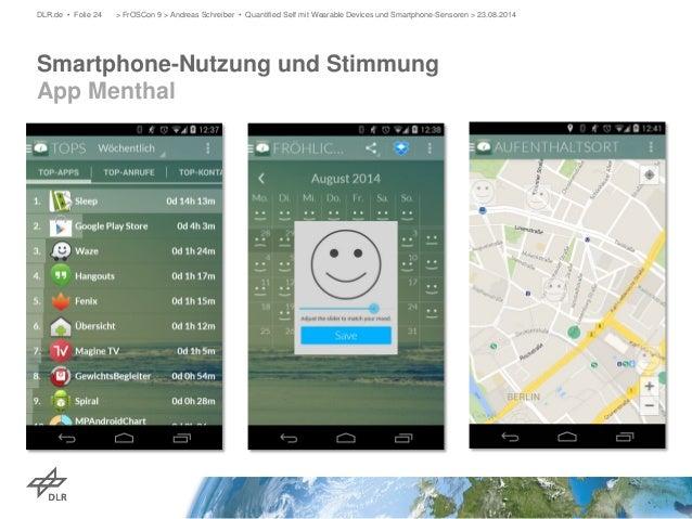 Smartphone-Nutzung und Stimmung App Menthal  DLR.de • Folie 24 > FrOSCon 9 > Andreas Schreiber • Quantified Self mit Weara...
