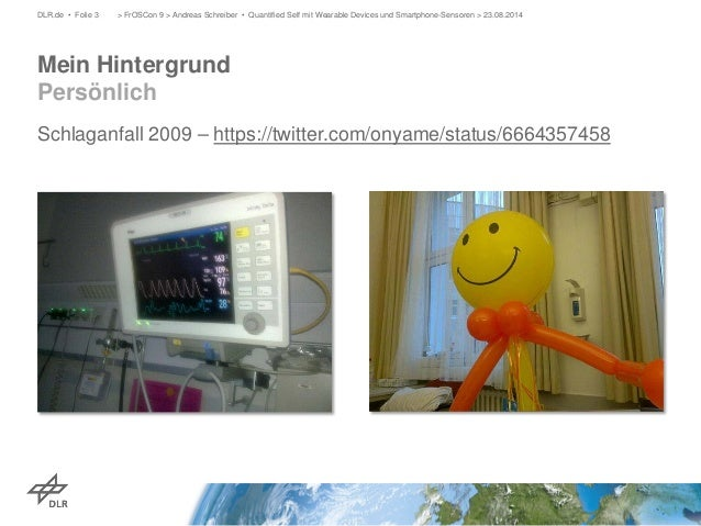 Schlaganfall 2009 – https://twitter.com/onyame/status/6664357458  > FrOSCon 9 > Andreas Schreiber • Quantified Self mit We...