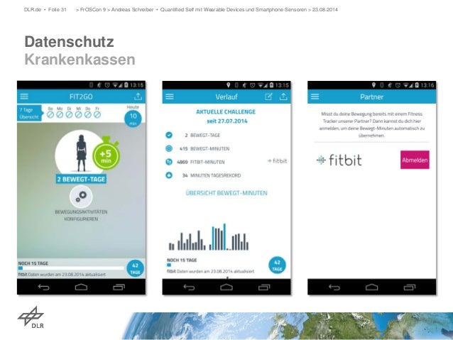 Datenschutz Krankenkassen  DLR.de • Folie 31 > FrOSCon 9 > Andreas Schreiber • Quantified Self mit Wearable Devices und Sm...