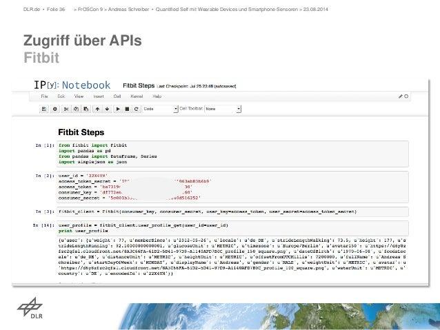 Zugriff über APIs Fitbit  DLR.de • Folie 36 > FrOSCon 9 > Andreas Schreiber • Quantified Self mit Wearable Devices und Sma...