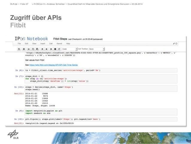 Zugriff über APIs Fitbit  DLR.de • Folie 37 > FrOSCon 9 > Andreas Schreiber • Quantified Self mit Wearable Devices und Sma...
