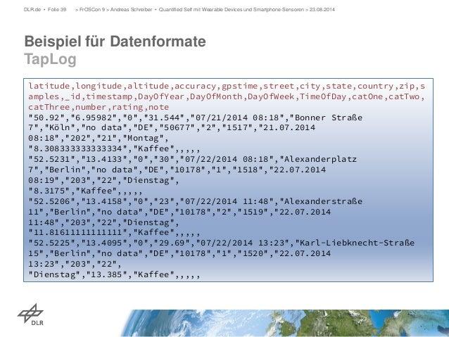 Beispiel für Datenformate TapLog  DLR.de • Folie 39 > FrOSCon 9 > Andreas Schreiber • Quantified Self mit Wearable Devices...