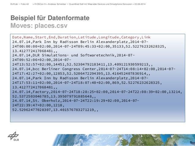 Beispiel für Datenformate Moves: places.csv  DLR.de • Folie 42 > FrOSCon 9 > Andreas Schreiber • Quantified Self mit Weara...