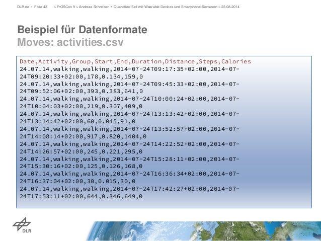 Beispiel für Datenformate Moves: activities.csv  DLR.de • Folie 43 > FrOSCon 9 > Andreas Schreiber • Quantified Self mit W...