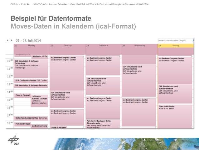 Beispiel für Datenformate Moves-Daten in Kalendern (ical-Format)  DLR.de • Folie 44 > FrOSCon 9 > Andreas Schreiber • Quan...