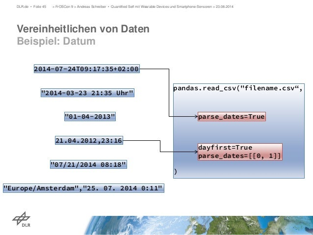 Vereinheitlichen von Daten Beispiel: Datum  DLR.de • Folie 45 > FrOSCon 9 > Andreas Schreiber • Quantified Self mit Wearab...
