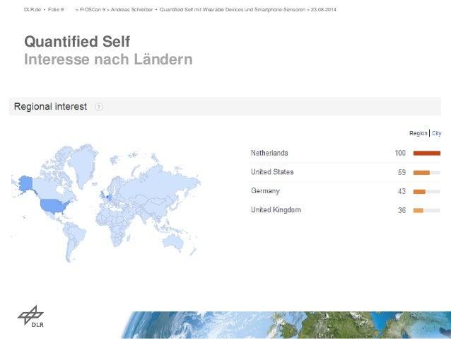 Quantified Self Interesse nach Ländern  DLR.de • Folie 9 > FrOSCon 9 > Andreas Schreiber • Quantified Self mit Wearable De...