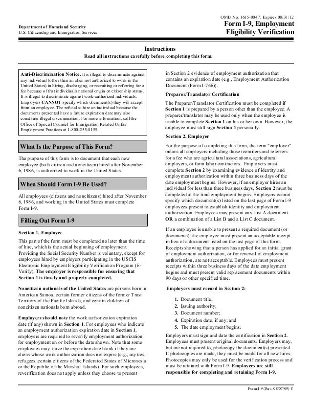 OMB No. 1615-0047; Expires 08/31/12Department of Homeland Security                                                        ...