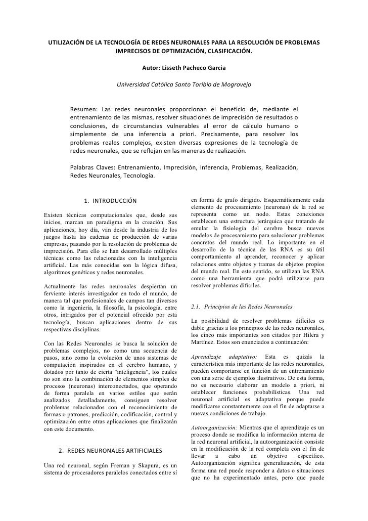 UTILIZACIÓN DE LA TECNOLOGÍA DE REDES NEURONALES PARA LA RESOLUCIÓN DE PROBLEMAS                      IMPRECISOS DE OPTIMI...