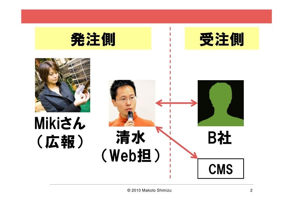 発注側                            受注側Mikiさん(広報)       清水                      B社         (Web担)                              ...
