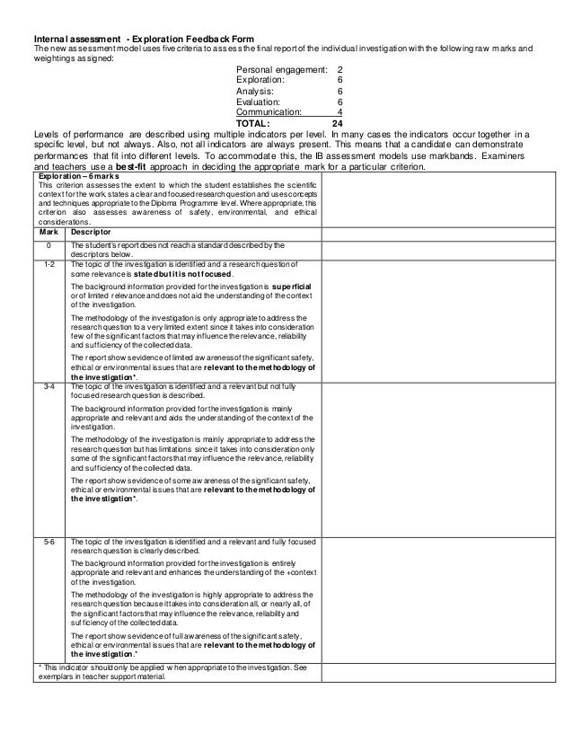 Internal assessment - Exploration Feedback Form The new assessmentmodel uses five criteria to assess the final reportof th...