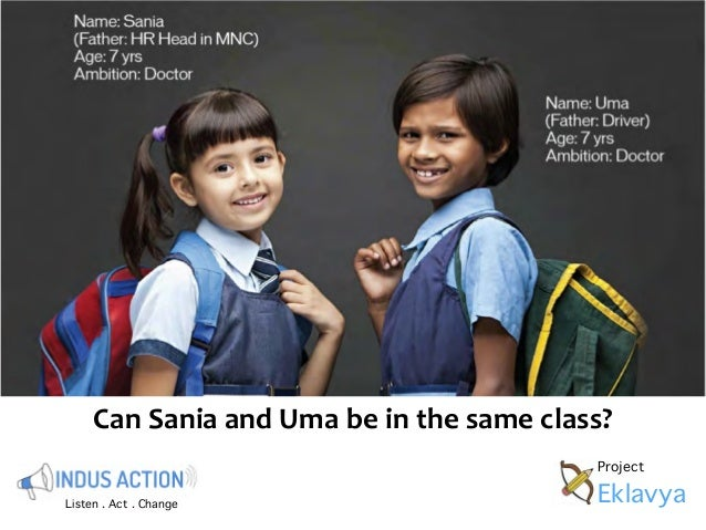 Can  Sania  and  Uma  be  in  the  same  class?  Listen . Act . Change  Project  Eklavya
