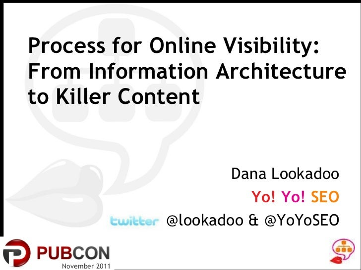 Process for Online Visibility:  From Information Architecture to Killer Content November 2011 Dana Lookadoo Yo!  Yo!  SEO ...