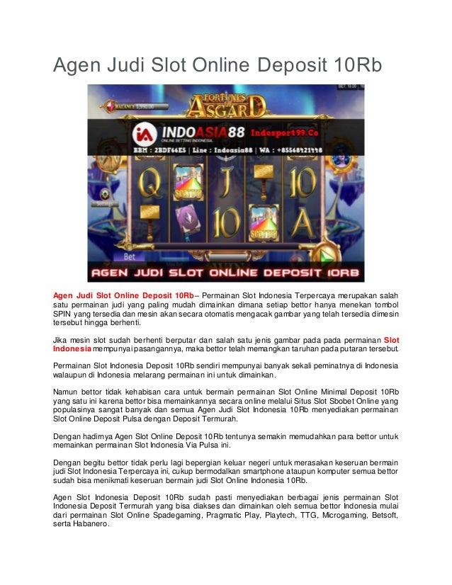 Agen Judi Slot Online Deposit 10rb