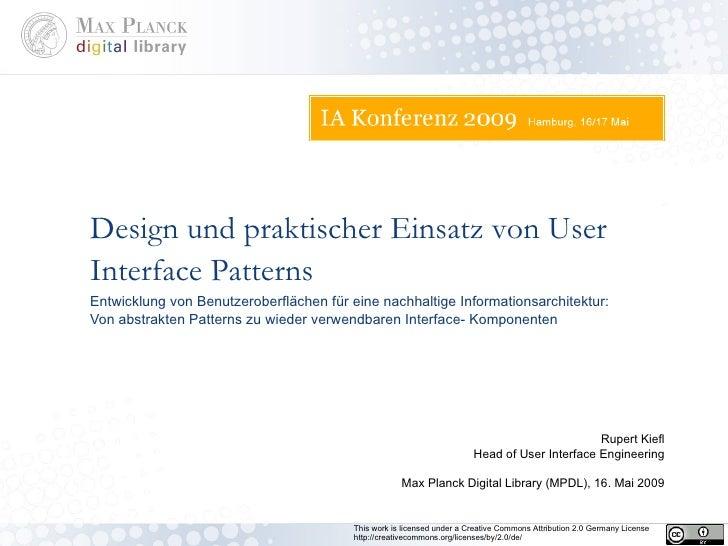 Entwicklung von Benutzeroberflächen für eine nachhaltige Informationsarchitektur: Von abstrakten Patterns zu wieder verwen...