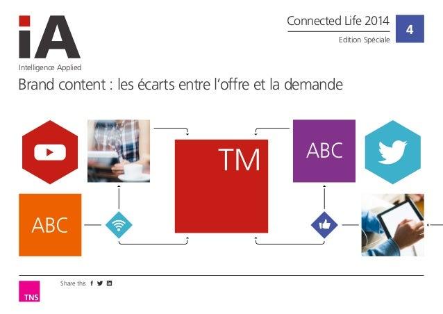 Share this  4  Intelligence Applied  Brand content : les écarts entre l'offre et la demande  Connected Life 2014  Edition ...
